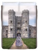 Period Lady In Front Of A Castle Duvet Cover