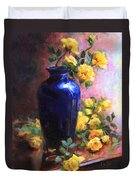 Persian Cobalt - Yellow Roses In Cobalt Vase Duvet Cover