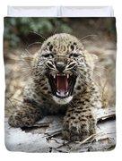 Persian Leopard Cub Snarling Duvet Cover