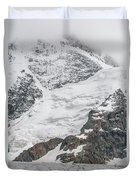 Person Cheering On A Glacier Duvet Cover