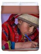 Peru Writing Lesson In Huilloc Primary School Peru Duvet Cover