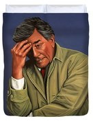 Peter Falk As Columbo Duvet Cover by Paul Meijering