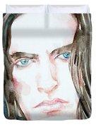 Peter Steele Watercolor Portrait Duvet Cover