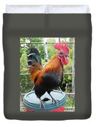 Petey The Old English Game Bantam Rooster Duvet Cover