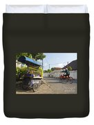 Petrol Stall And Cyclo Taxi In Solo City Indonesia Duvet Cover