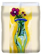 Petunia In Vase With Yellow Background Duvet Cover by Genevieve Esson