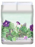 Petunias On The Fence Duvet Cover