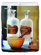 Pharmacist - Mortar And Pestle With Bottles Duvet Cover