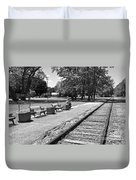 Phelps Ny Train Station In Black And White Duvet Cover