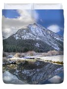 Phi Kappa Mountain Reflected In River Duvet Cover