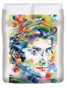 Phil Ochs - Watercolor Portrait Duvet Cover