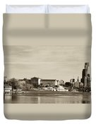 Philadelphia Art Museum With Cityscape In Sepia Duvet Cover