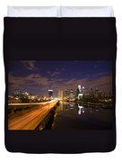Philadelphia Cityscape From South Street At Night Duvet Cover