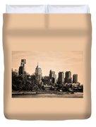 Philadelphia Cityscape In Sepia Duvet Cover