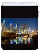 Philadelphia Cityscape Panorama By Night Duvet Cover