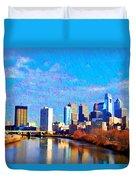 Philadelphia Cityscape Rendering Duvet Cover