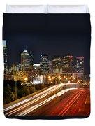 Philadelphia Skyline At Night In Color Car Light Trails Duvet Cover