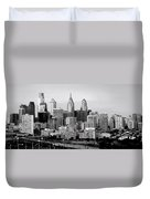 Philadelphia Skyline Black And White Bw Pano Duvet Cover
