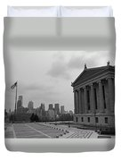 Philadelphia Skyline Black And White Duvet Cover