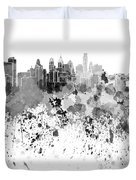 Philadelphia Skyline In Black Watercolor On White Background Duvet Cover