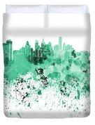 Philadelphia Skyline In Green Watercolor On White Background Duvet Cover