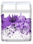 Philadelphia Skyline In Purple Watercolor On White Background Duvet Cover