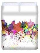 Philadelphia Skyline In Watercolor On White Background Duvet Cover