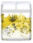 Philadelphia Skyline In Yellow Watercolor On White Background Duvet Cover