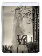 Philadelphia's Love Story In Sepia Duvet Cover