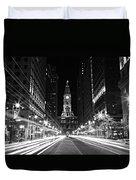 Philadephia City Hall -- Black And White Duvet Cover