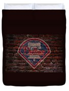 Phillies Baseball Graffiti On Brick  Duvet Cover by Movie Poster Prints