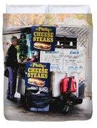 Philly Cheese Steak Cart Duvet Cover