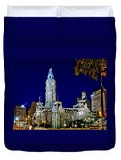 Philly City Hall At Night Duvet Cover