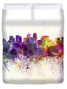 Phoenix Skyline In Watercolor Background Duvet Cover