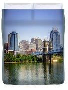 Photo Of Cincinnati Skyline And Roebling Bridge Duvet Cover