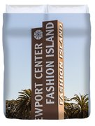 Photo Of Fashion Island Sign In Newport Beach Duvet Cover