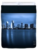 Photo Of San Diego At Night Skyline Buildings Duvet Cover