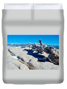 Photographer On Top Of Sentinel Dome In Yosemite Np-ca  Duvet Cover