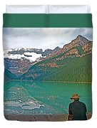 Photographers At Lake Louise In Banff National Park-ab Duvet Cover