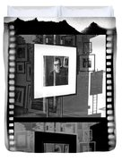 Photographic Artwork Of Woody Allen In A Window Display Duvet Cover