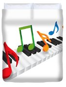 Piano Keyboard And 3d Music Notes Illustration Duvet Cover