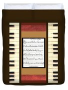 piano keys sheet music to Keep Of The Promise by Kristie Hubler Duvet Cover