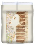 Piano Spirit Original Coffee And Watercolors Series Duvet Cover