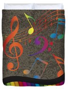 Piano Wavy Border With Colorful Keys And Music Note Duvet Cover