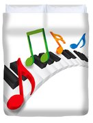 Piano Wavy Keyboard And Music Notes 3d Illustration Duvet Cover