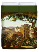 Piazza Barberini In Rome Duvet Cover