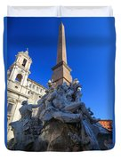 Piazza Navona Fountain Duvet Cover