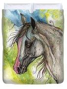 Piber Polish Arabian Horse Watercolor Painting 3 Duvet Cover