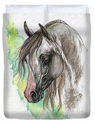 Piber Polish Arabian Horse Watercolor Painting Duvet Cover