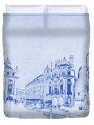 Piccadilly Circus Blueprint Duvet Cover by Kaleidoscopik Photography